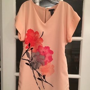 Peach colored shift dress with pockets